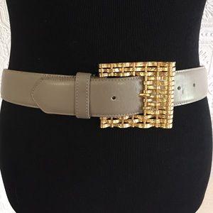 Anne Klein greige leather vintage belt L